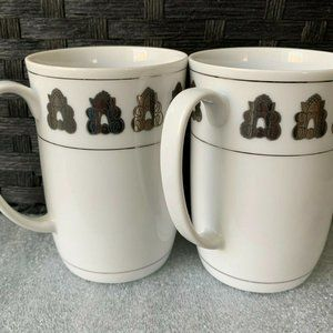 Georg Jensen Silver Acorn Design Coffee Mug Duo
